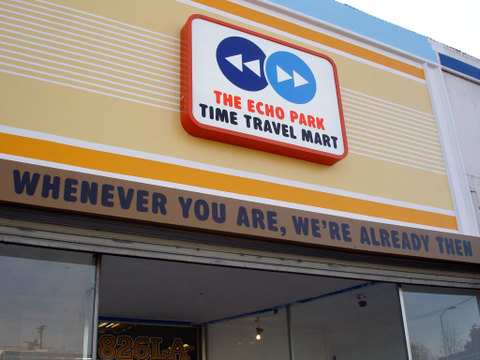 Time Travel Mart sign